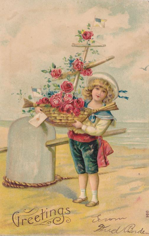 Boy with ship shaped flower basket , GREETINGS , 00-10s