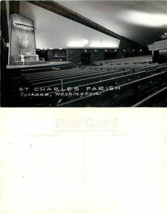 RPPC of Interior of St. Charles Parish, Spokane, Washington, WA