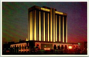 Atlantic City, New Jersey Postcard GOLDEN NUGGET HOTEL & Casino Night View 1970s