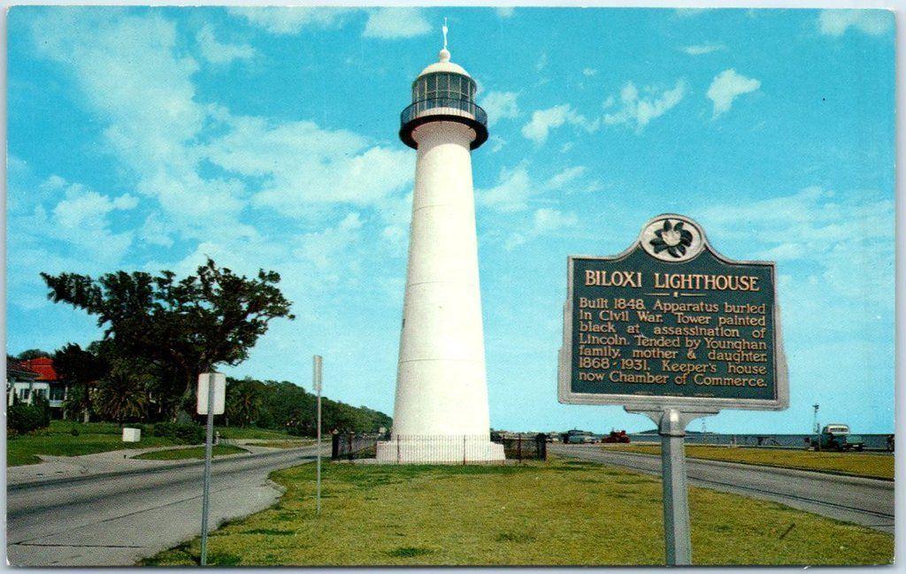 Biloxi Mississippi Postcard Biloxi Lighthouse W Sign C1950s Chrome Unused Hippostcard
