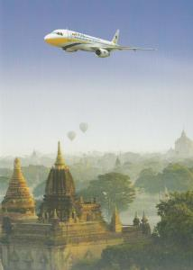 MAI (Myanmar Airways International) Airplane over Temple  , 80-90s