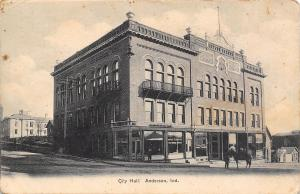 Anderson Indiana~City Hall~Water Office~Mayor~Horse on Street~B&W 1906 Postcard