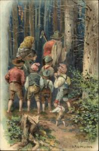 German Fairy Tale Children Family Woods Cut  Down Tree DAUMLING PFB Postcard