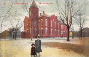 Des Moines Iowa~Crocker School~Lady & Girl Posing in Foreground~1910 Postcard