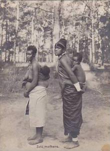 RP, Zulu Life, Topless Zulu Mothers Carrying Their Children On Their Backs, S...