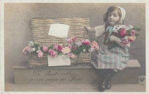 RP: Girl & Basket of flowers , 00-10s
