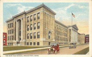 BRIDGEPORT, CT Connecticut  NEW HIGH SCHOOL  Early Automobiles  c1920's Postcard