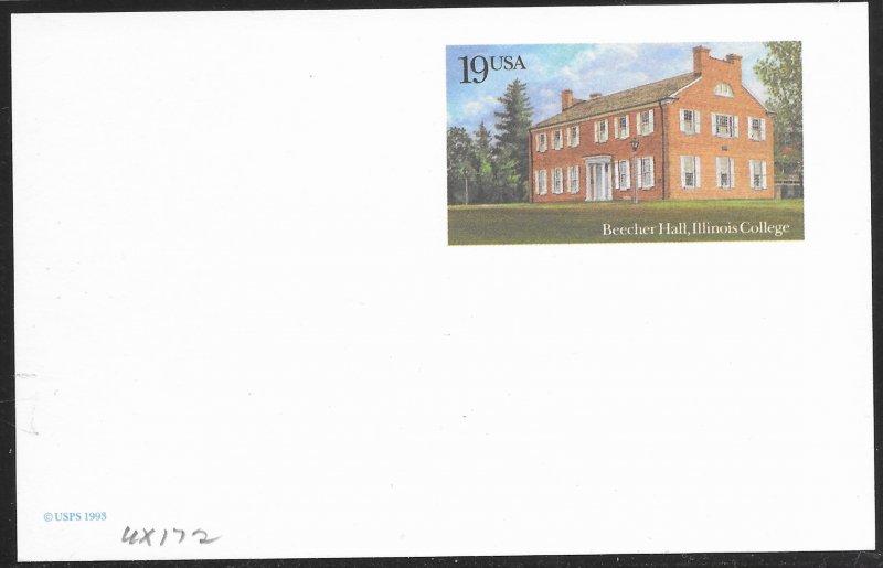 US Unused Beecher Hall - Illinois College.  UX172  Nice.