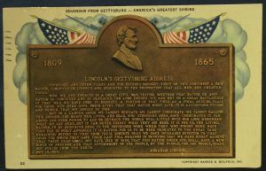 Postcard Used Lincoln's Gettysburg Address Willis Building Gettysburg PA LB