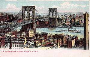 Brooklyn Bridge from New York City, N.Y., Early Postcard, Unused