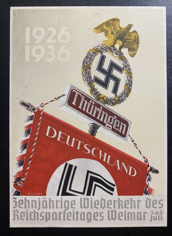 1936 Weimar Germany Propaganda Postcard cover NSDAP political Rally Thuringen