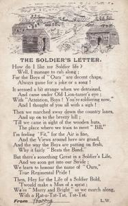 The Soldiers Letter Military Poem Antique Army Postcard