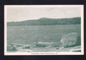 GREETINGS FROM HAWESVILLE KENTUCKY BOATING LAKE BIG ROCK VINTAGE POSTCARD KY.