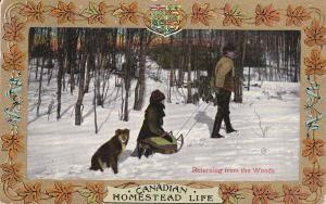 Canadian HOMESTEAD Life ; Returning from the woods , dog , sled ; 00-10s