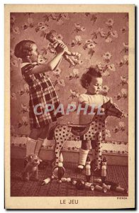 Old Postcard Children play Horse wooden doll