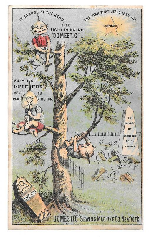Domestic Sewing Machine Victorian Trade Card Brownies Pixies Tree Cemetery