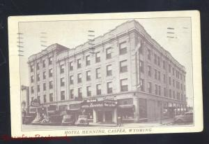 CASPER WYOMING DOWNTOWN HOTEL HENNING 1930's CARS VINTAGE POSTCARD B&W