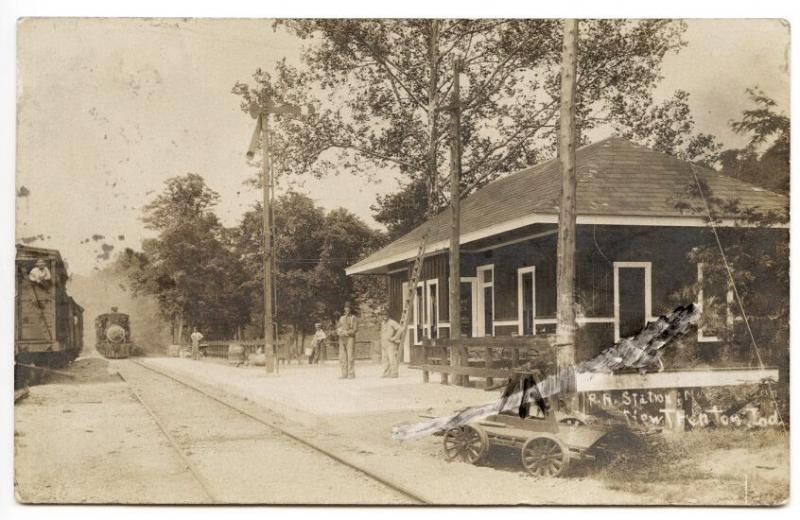 New Trenton IN Railroad Station Train Depot 1909 RPPC Real Photo Postcard