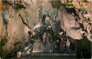 Crystal Cave Pennsylvania~Interior View~Fellows on Stairs~1950s Postcard