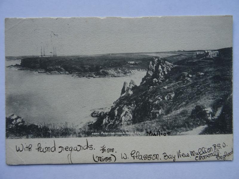 Cornwall MULLION Cove & Marconi's Poldhu 4 Mast Wireless Station c1904 Postcard