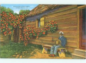 Linen Black Americana SITTING ON BENCH BY THE CABIN AC0535