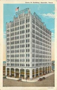 Amarillo Texas~Beaux Arts Santa Fe Bulding~Old Cars~1930~Postcard