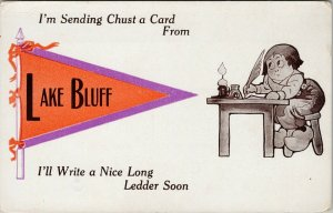 Lake Bluff Illinois IL 'I'm Sending Chust a Card From' Unused Postcard F13