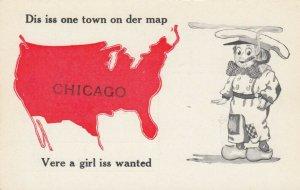CHICAGO, Illinois, 1900-10s; Dutch boy smoking, Map of United States