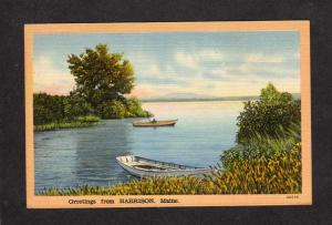 ME Greetings From Harrison Maine Linen Postcard Boats