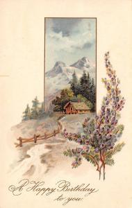 PFB Birthday~Scottish Purple Heather~Cottage Under Highland Hills~Emboss~#6337