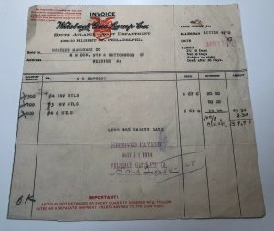 1914 Welsbach Gas Lamp Company S Atlantic Philly Reading PA Invoice Letterhead