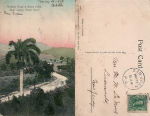 PUERTO RICO MILITARY ROAD ANTIQUE POSTCARD CORK CANCEL