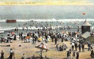 Surf Bathing, Long Beach, California Beach Scene c1910s Vintage Postcard