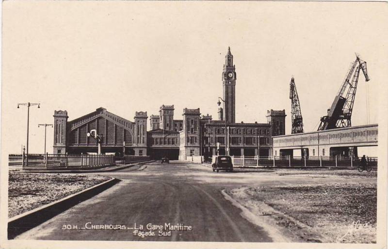 RP, La Gare Maritime Facade Sud, Cherbourg (Manche), France, 1920-1940s