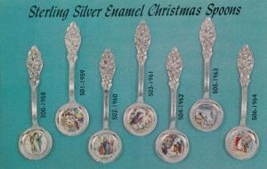 JEFFERSON CITY , Missouri, 50-60s ; Silver Enamel Christmas Spoons