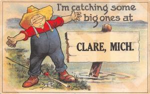Catching Some Big Ones at Clare Michigan~Farmer Fisherman Spreads Arms~1913 PC