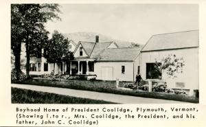 VT - Plymouth. Boyhood Home of President Coolidge shown with wife and father ...