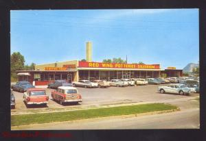 RED WING MINNESOTA RED WING POTTERY STORE 1950's CARS WOODY WAGON POSTCARD