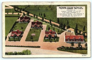 Postcard VA Alexandria Airview Penn Daw Hotel & Dining Room Vintage Linen