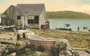 Hand Colored Postcard A Bit Of Stage Harbor Chatham Cape Cod MA Albertype