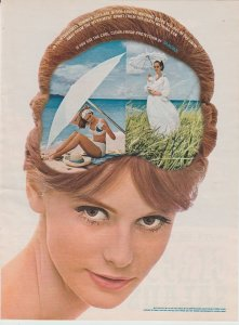 Tampax Tampons 1965 Print Ad, Girl with Thoughts of Summer, Beach Scene