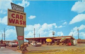 Los Angeles CA Flans' Automatic Car Wash Old Cars Postcard
