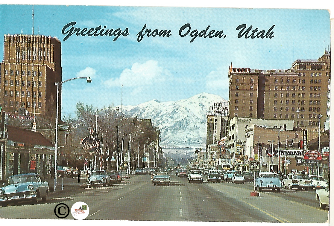 Greetings from Ogden Utah Street Scene with Mountain View Vintage Postcard