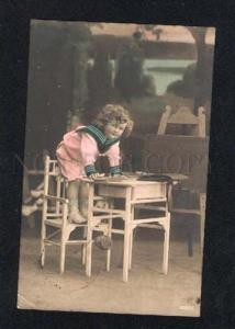 015481 Cute Girl as Playful PUPIL School Vintage PHOTO RUSSIAN