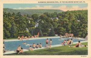 DELAWARE WATER GAP, Pennsylvania  PA    GLENWOOD SWIMMING POOL  c1940s  Postcard