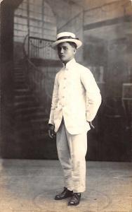 Manila Philippines Man in White Diana Portrait Studio Real Photo PC JE229709