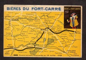 France Biere du Fort Carre French Map Postcard Carte Postale Reims , Soissons
