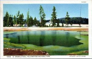 1935 Yellowstone Emerald Pool Haynes 12546 Linen Postcard BK