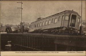 Phillipsburg NJ Train Wreck Black Diamond Express 1907 Postcard rpx