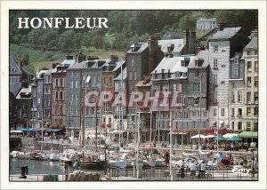 Modern Postcard Honfleur Old Basin and the typical facades of St. Catherine B...
